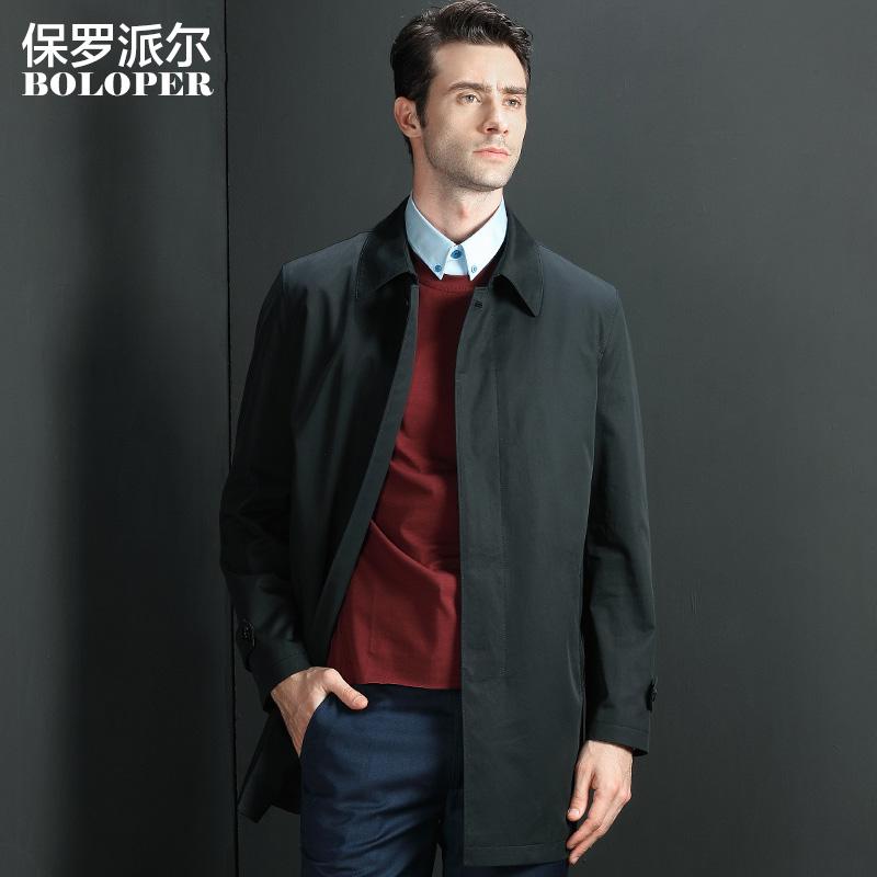 Mùa thu mới trung niên của nam giới áo gió trong phần dài của bông kích thước lớn kinh doanh bình thường áo dày mùa xuân và mùa thu áo nam