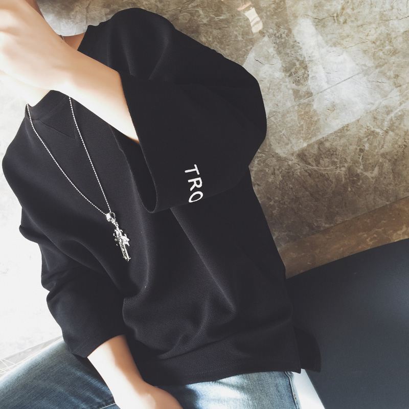 2019年春季卫衣7七分袖T恤男士大码宽松学生韩版潮流5五分袖上衣