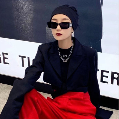 taobao agent Korean version of the net red Fengfan box sunglasses female round face was thin, trendy male personality street shooting square rice nail sunglasses cool