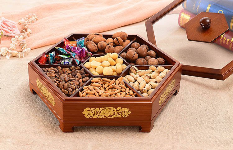 Solid Wood New Wooden Candy Box Antique Snack Melon Seeds Wedding