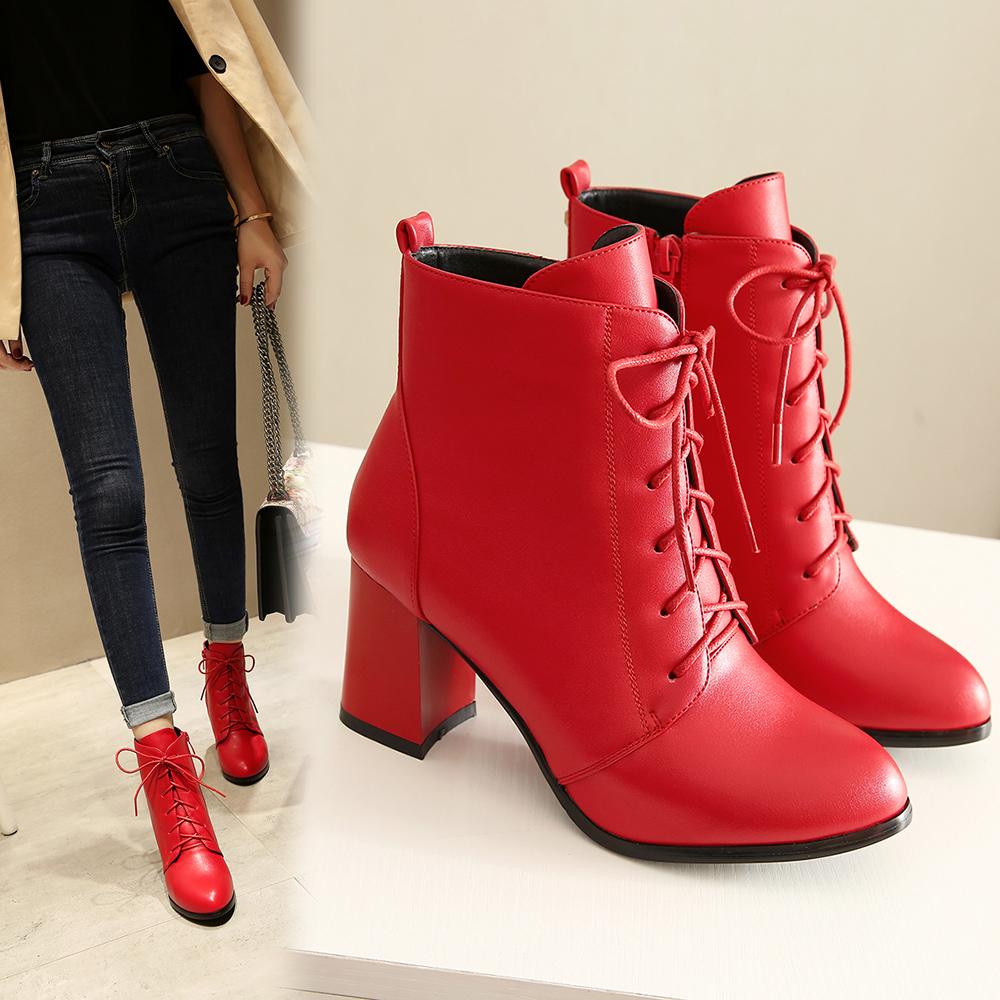 女靴高跟鞋女冬季新款百搭尖头粗跟短靴侧拉链显瘦马丁红色大东潮
