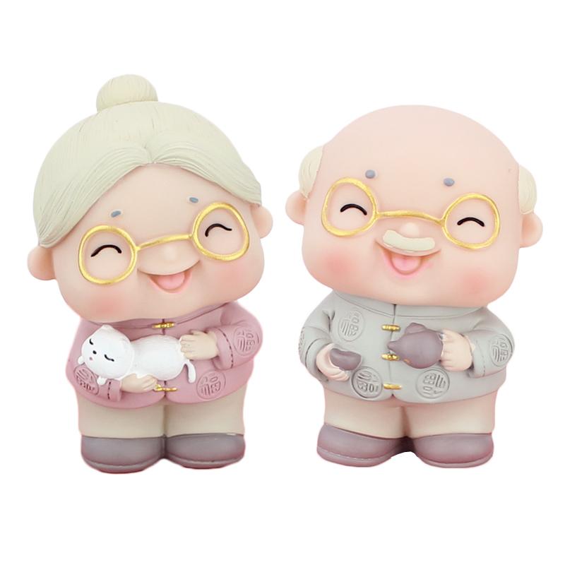 茶壶老爷爷抱猫老奶奶搪胶蛋糕装饰