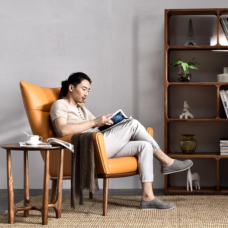北歐客廳懶人沙發椅臥室簡約現代休閑真皮單人椅子實木陽臺躺椅