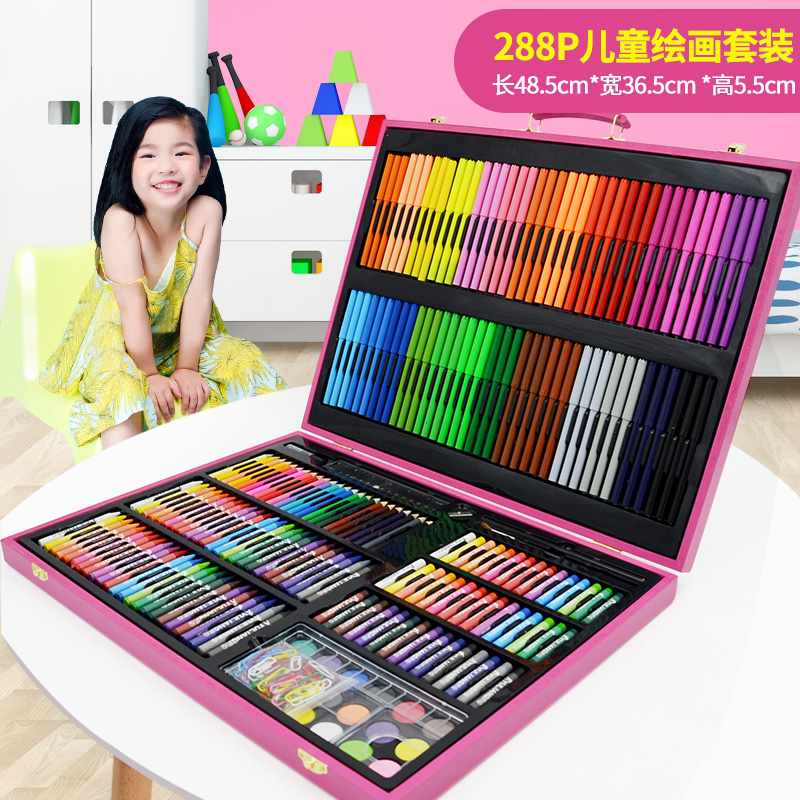 288 pieces of pink wooden box painting set + gift bag  buy one get 17