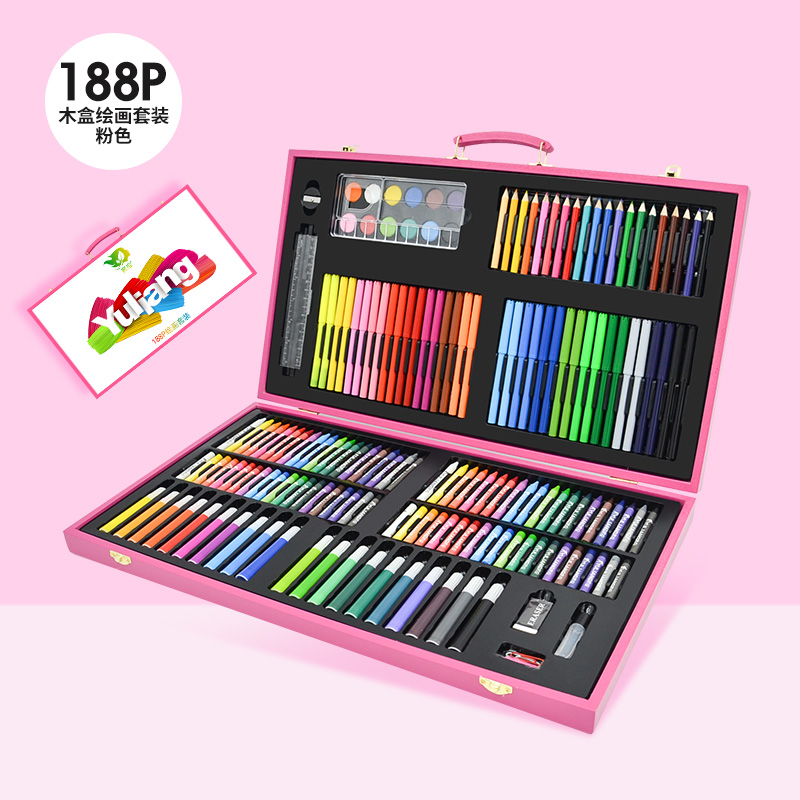 188 PIECES OF PINK WOODEN BOX PAINTING SET + GIFT BAG  BUY ONE GET 17