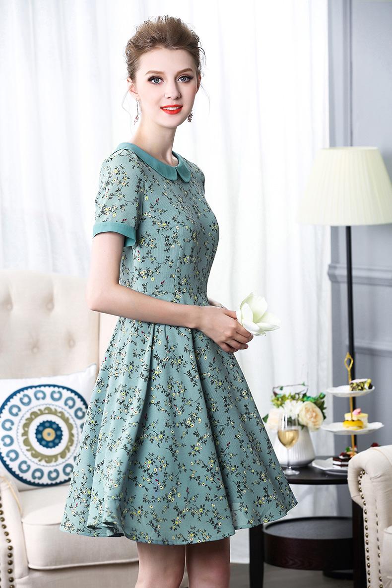 Mực Qinghua 2017 mùa hè mới tính khí thời trang thanh lịch Slim mỏng tay áo voan in dress