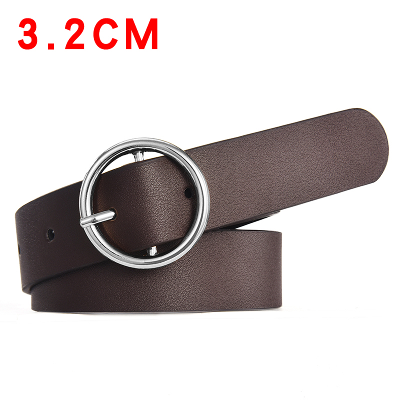 Wide 3.2CM Brown - Silver Buckle