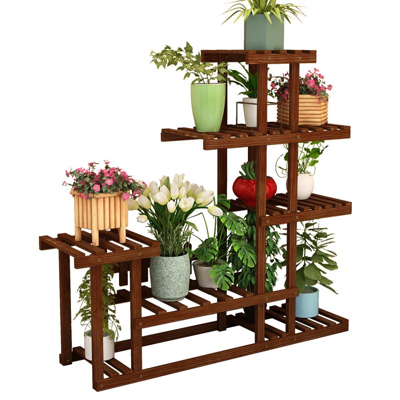 阳台花架子室内多层实木客厅家用置物架多肉绿萝花盆架装饰植物架