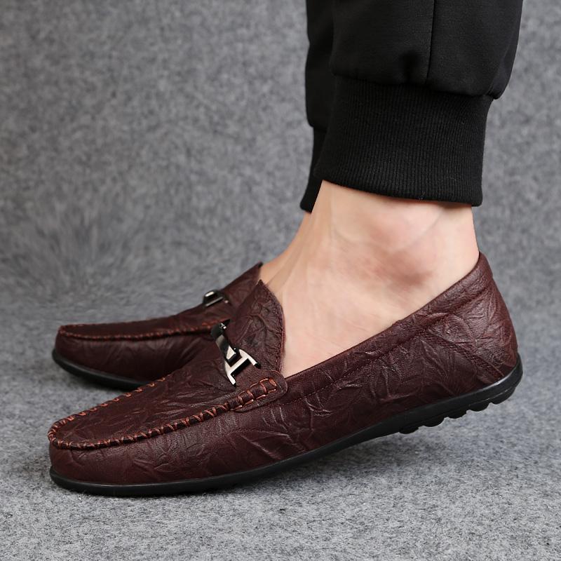 春季男鞋新品真皮豆豆鞋子男士一脚蹬休闲鞋懒人套脚软底驾车鞋男_天猫超市优惠券