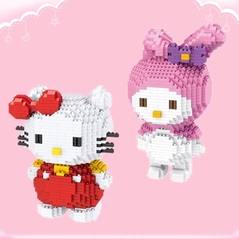 zms微型鉆石小顆粒拼裝積木melody兔子kitty貓成人女孩禮物玩具