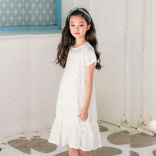 Девочки платье корейский 2020 лето модель в больших детей белое кружево пирсинг 11 платье принцессы 12 супер 14 лет, цена 1311 руб