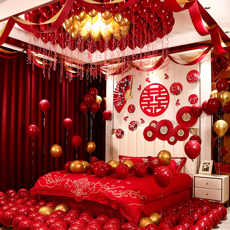 Wedding room layout set men's new room bedroom Chinese creative romantic woman wedding pull balloon scene decoration