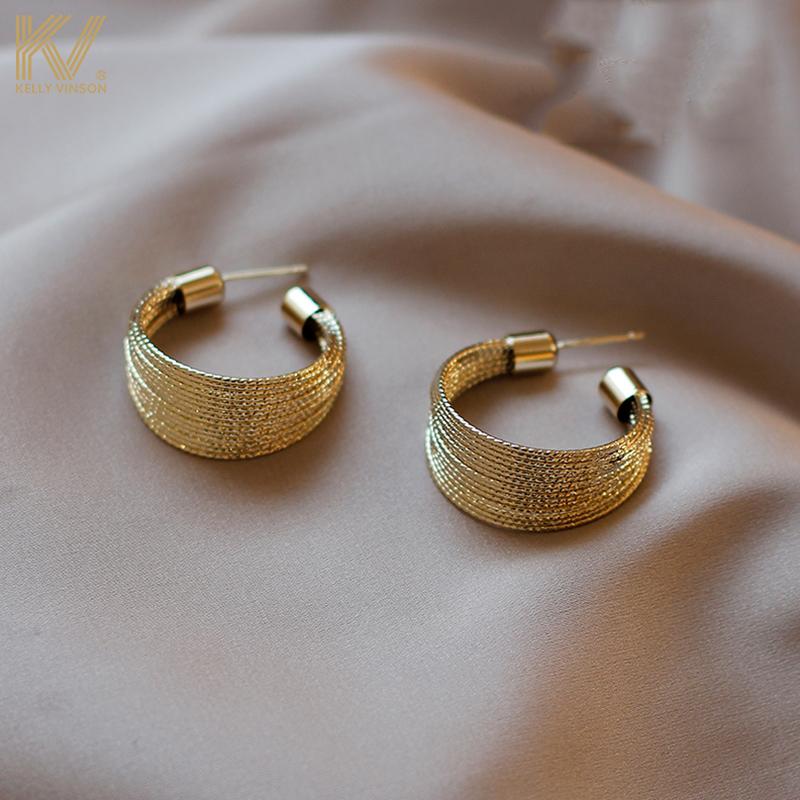 High-grade sense earrings female European and American temperament Korean net red retro simple ear needle 2021 new trend sterling silver jewelry