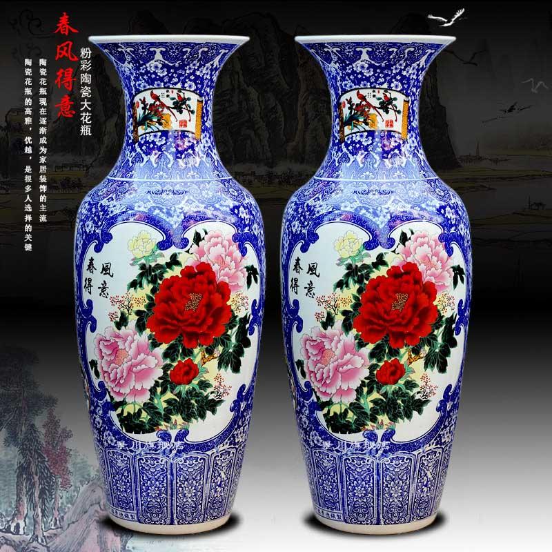 Blue and white porcelain of jingdezhen ceramics archaize lad spring of noise figure of large sitting room place vase hotel decoration