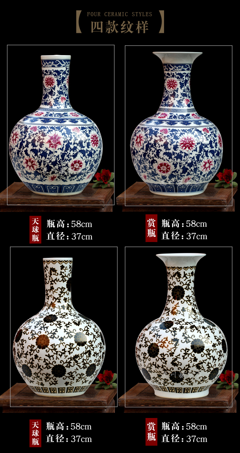 Jingdezhen chinaware lotus archaize youligong tangled branches bottle home sitting room mesa study office furnishing articles