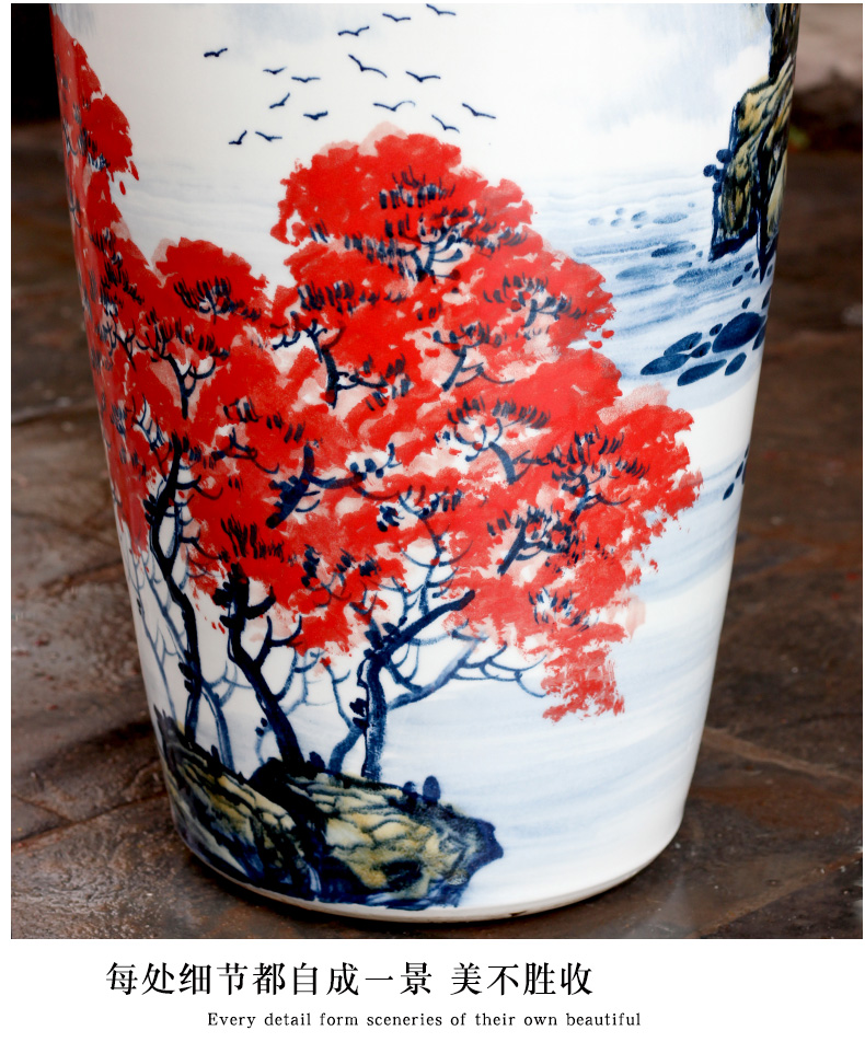 Jingdezhen ceramic hand - made luck landscape painting of large vases, sitting room of Chinese style household furnishing articles decorations