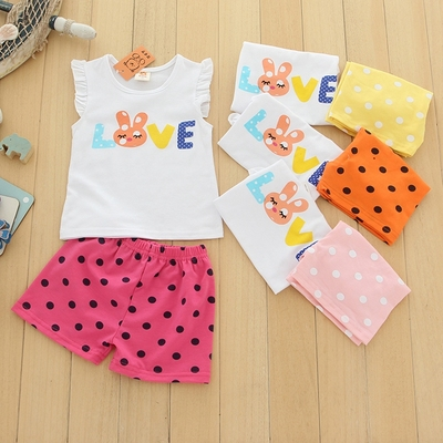 Children's wholesale factory direct baby spell color matching suit summer new girl princess sleeve vest suit
