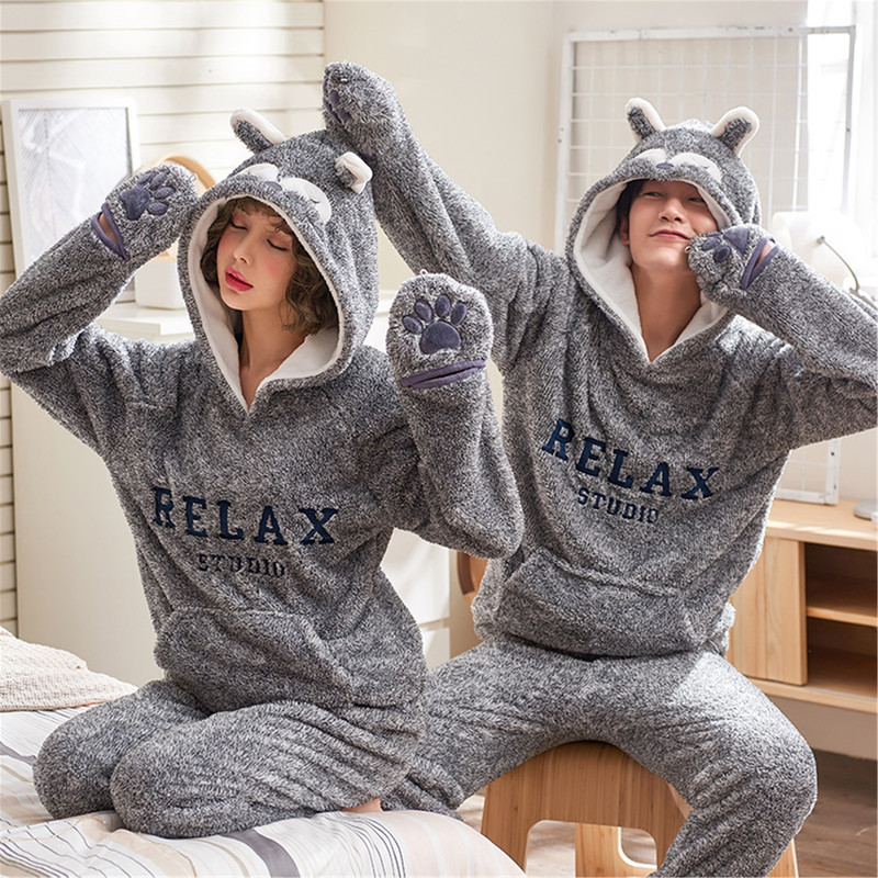 bbd3e97f85 Real Shot Autumn And Winter Coral Fleece Couple Pajamas ...