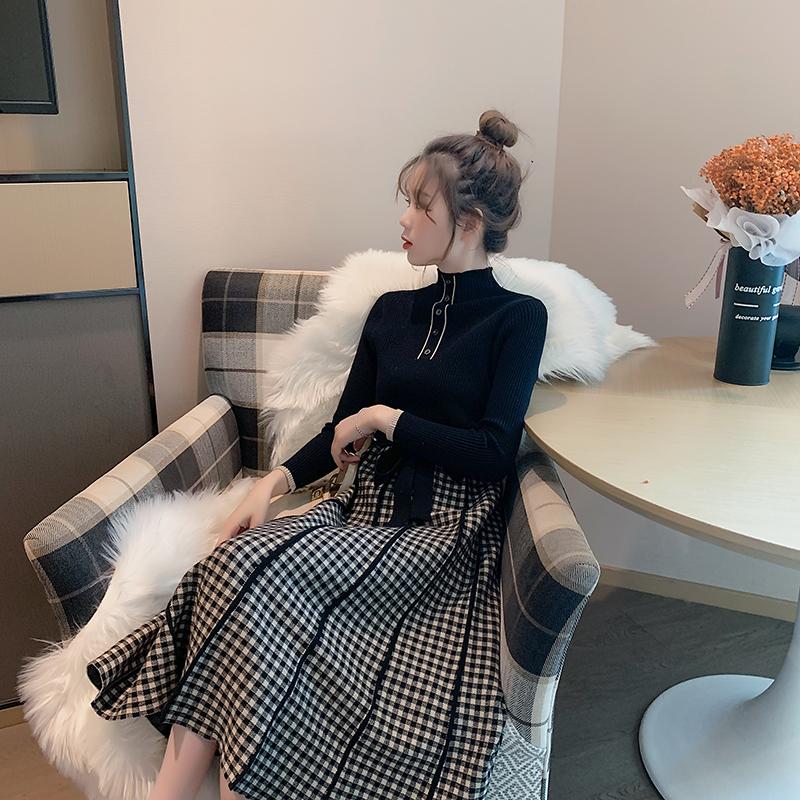 2020年新款气质春季针织连衣裙秋季长裙裙子法式过膝拜年毛衣女装