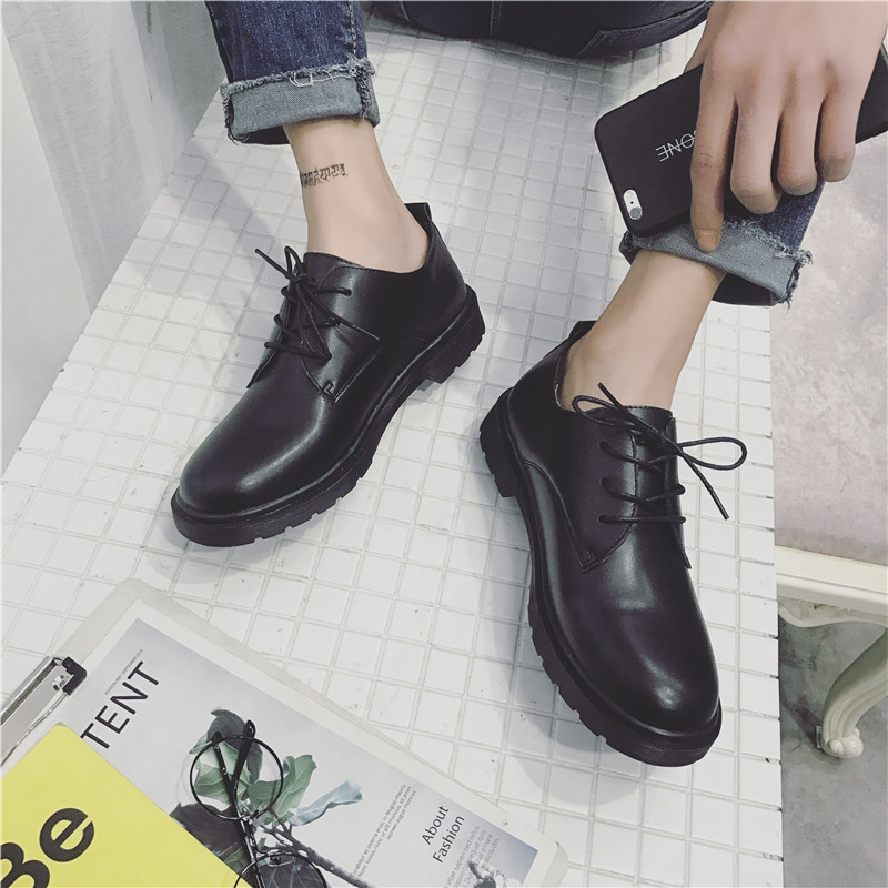 KFC work black leather shoes male England small leather shoes forest bend LES handsome T neutral casual shoes Korean version of the tide