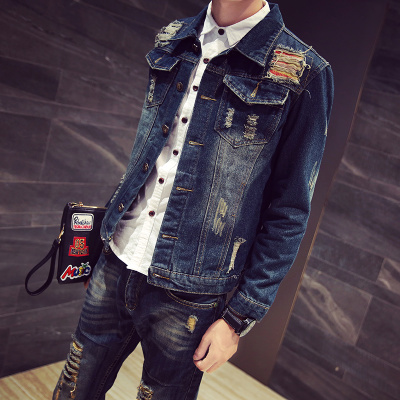 Men's denim jacket 2017 spring and autumn new Korean Slim handsome jacket casual denim clothes trend men's