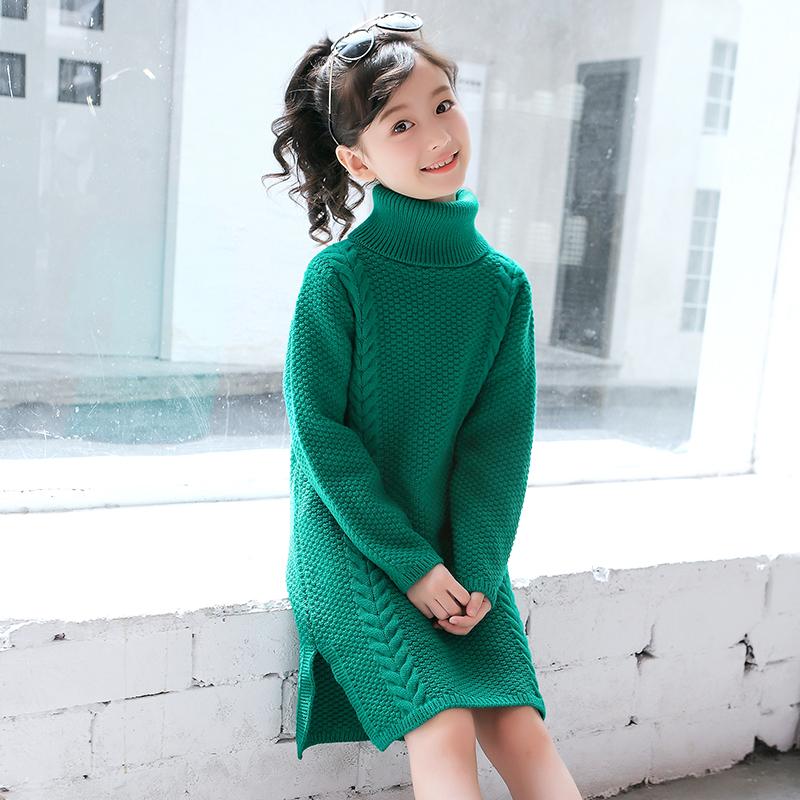 女童毛衣套头秋冬款2019新款儿童装中大童中长款高领针织衫毛衣裙