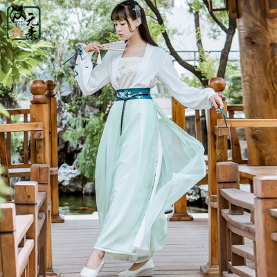 New stream Han elements original everyday costume Hanfu lapel embroidery improved Song pants three sets of ancient women's clothing