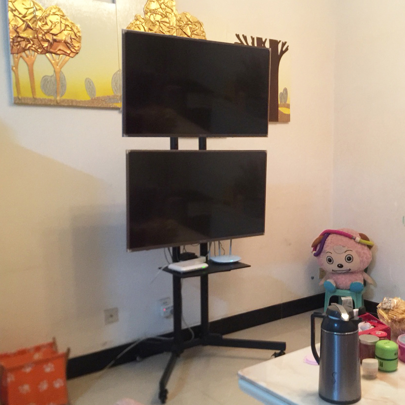 Up And Down Double Hanging Tv Mobile Stand 32 455 Inch 2 Tv Carts