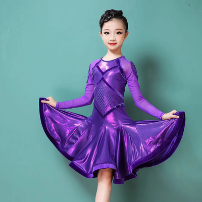 Girls Latin Dance Dresses Long sleeve customization for professional performance art test of women and children in Latin Dance Competition