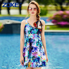 9c7efc882f 洲克Swimwear female conservative cover belly Siamese skirt swimsuit XL fat mm  floral slimming hot