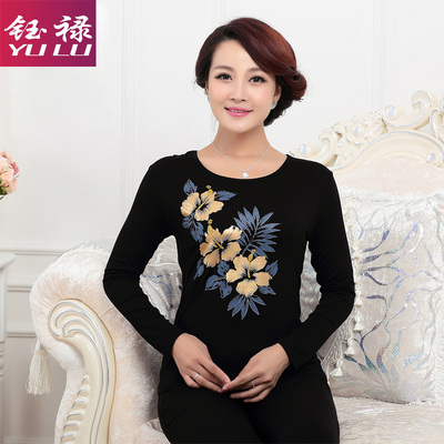 Yulu middle-aged women spring and autumn loaded loose printing T-shirt female primer shirt 40-50 years old mother loaded ladies shirt