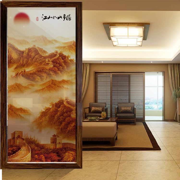 art glass screen partition background wall living room shoe cabinet engraving tempered entrance corridor landscape