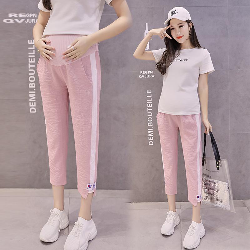 b197eabd6cada Pregnant women pants summer thin section cotton linen Belly Leggings summer  wear pants summer sports pants pregnant pants