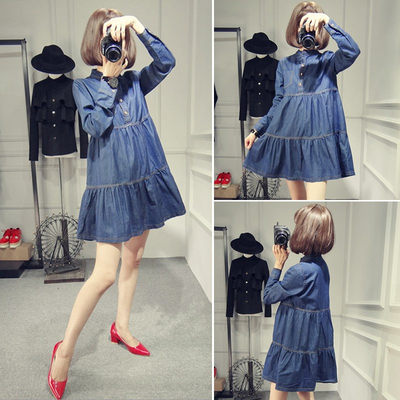 Maternity wear spring long-sleeved denim doll skirt loose large size A-line maternity dress spring and autumn mid-length skirt