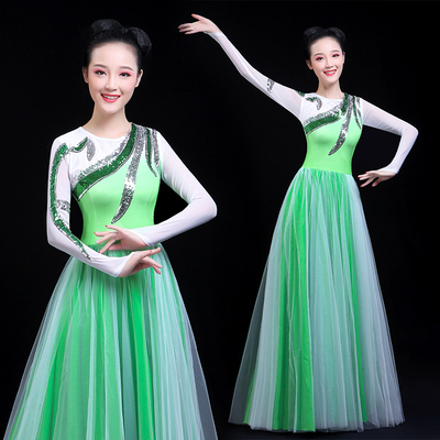 Chinese Folk Dance Costume Opening song and dance dress Modern Dance Costume Adult long skirt female chorus Costume