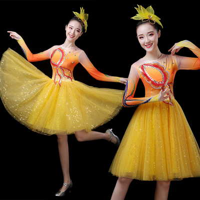 Chinese Folk Dance Costume Modern Dance Costume Young Women Adult Dance Costume Square Dance Costume Lineup Competition Costume