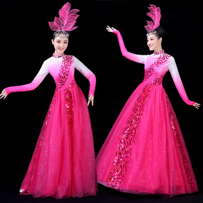 Chinese Folk Dance Costume Opening Dance Skirt, Adult Atmospheric Evening Song and Dance Costume, Flowering Dance Costume