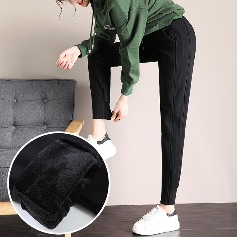 新款休闲裤女冬季加绒宽松外穿加厚韩版束脚九分运动女裤子哈伦裤