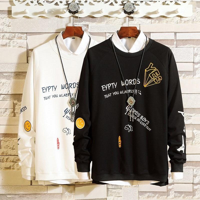 Sugar rose nghệ thuật nam mùa thu áo thun dài tay không có áo len trùm đầu tròn cổ áo khoác rộng cho nam - Áo len