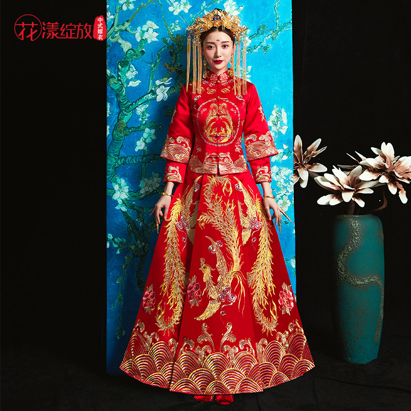 261c2d5be Bride 2019 new red toasting Chinese wedding dress qipao wedding gown long  feng coat show kimono