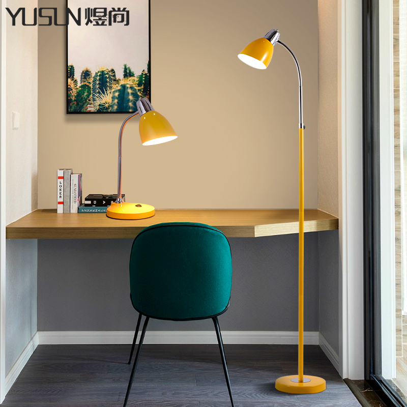 Led American Minimalist Floor Lamp Macaron Desk Study Bedroom Living Room Red Yellow Creative Iron Vertical
