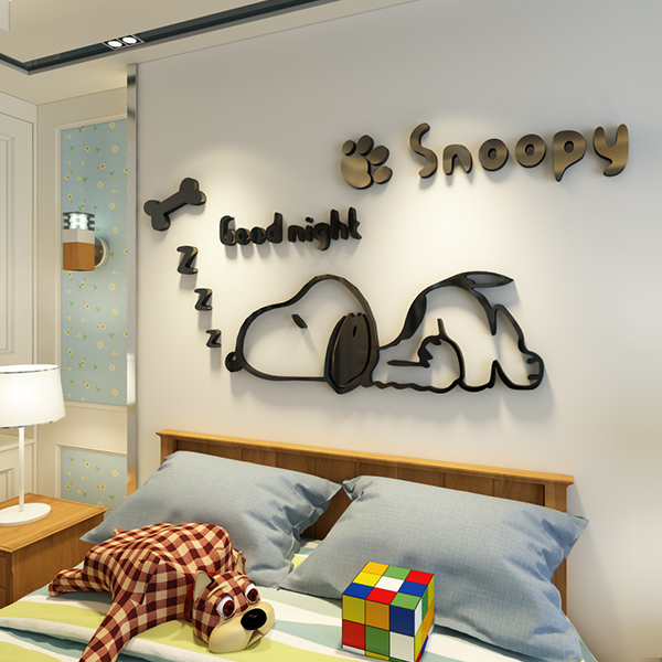 Snoopy Kindergarten Creative Childrenu0027s Room Decoration Stereo Wall Stickers  Bedside Bedroom 3d Wall Stickers Anime Stickers