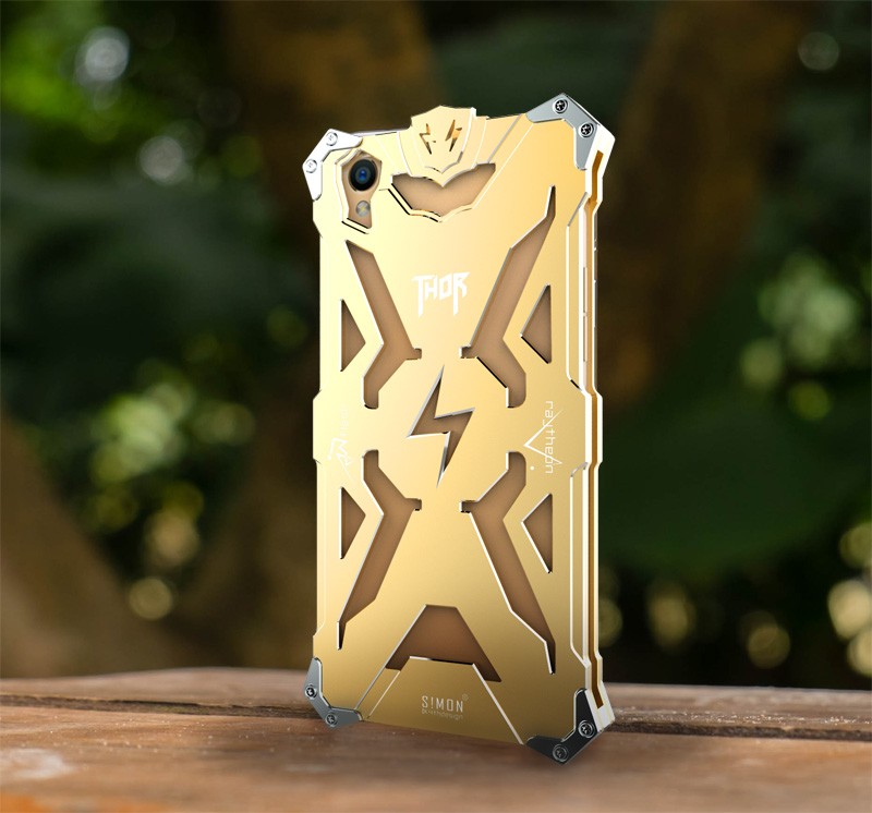 SIMON THOR Aviation Aluminum Alloy Shockproof Armor Metal Case Cover for OPPO R9 Plus & OPPO R9