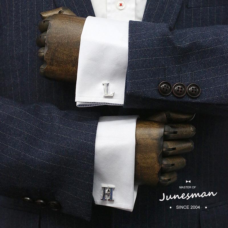 原创JM法式袖扣袖钉衬衫袖口扣会议婚礼面试主持商务正式字母