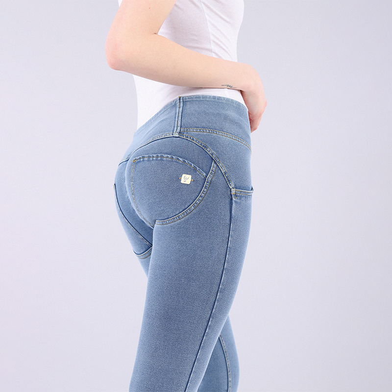 RESHAPE / Remodeled Freddy Three Button Mid Waist Jeans Peach Pants Ankle  Length J4Y