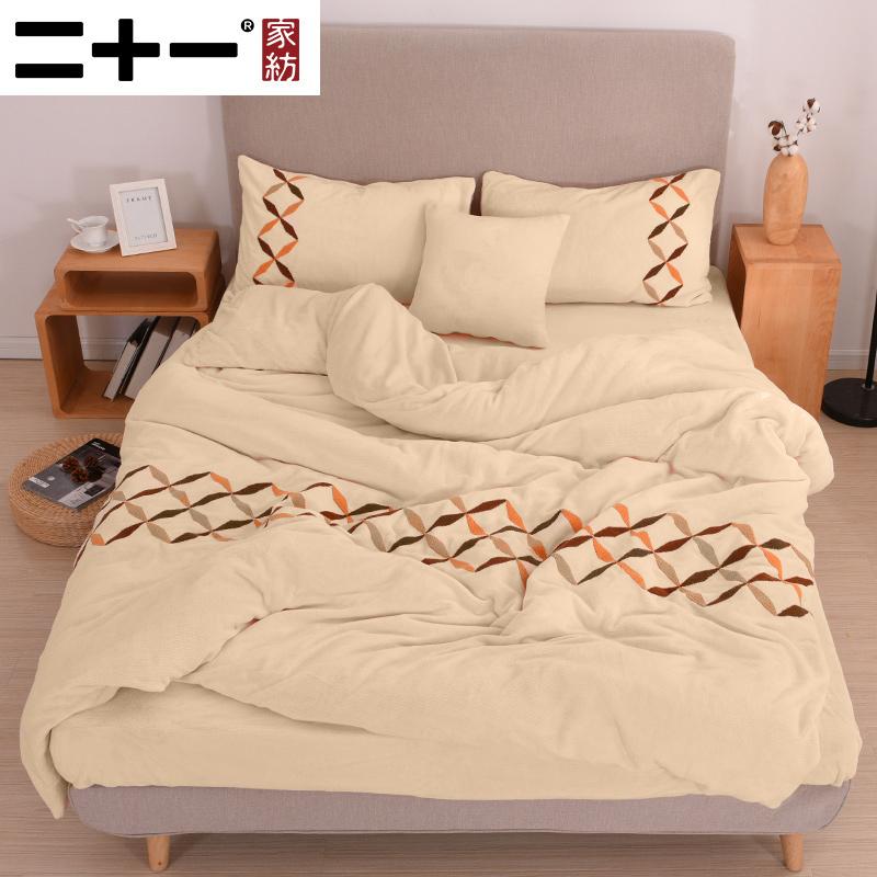 A類標準、230g高克重:二十一家紡 冬季加厚法蘭絨四件套 1.8m