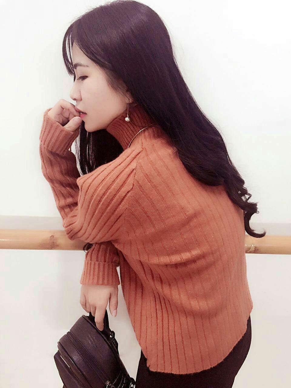 新款韩版女装打底秋冬纯色宽松加厚套头高领插肩袖女子短款毛衣