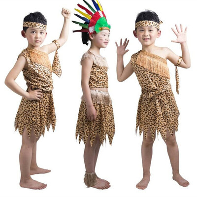 Adult children savage costume Hunter Dance Costume king asked me to visit the mountain Indians