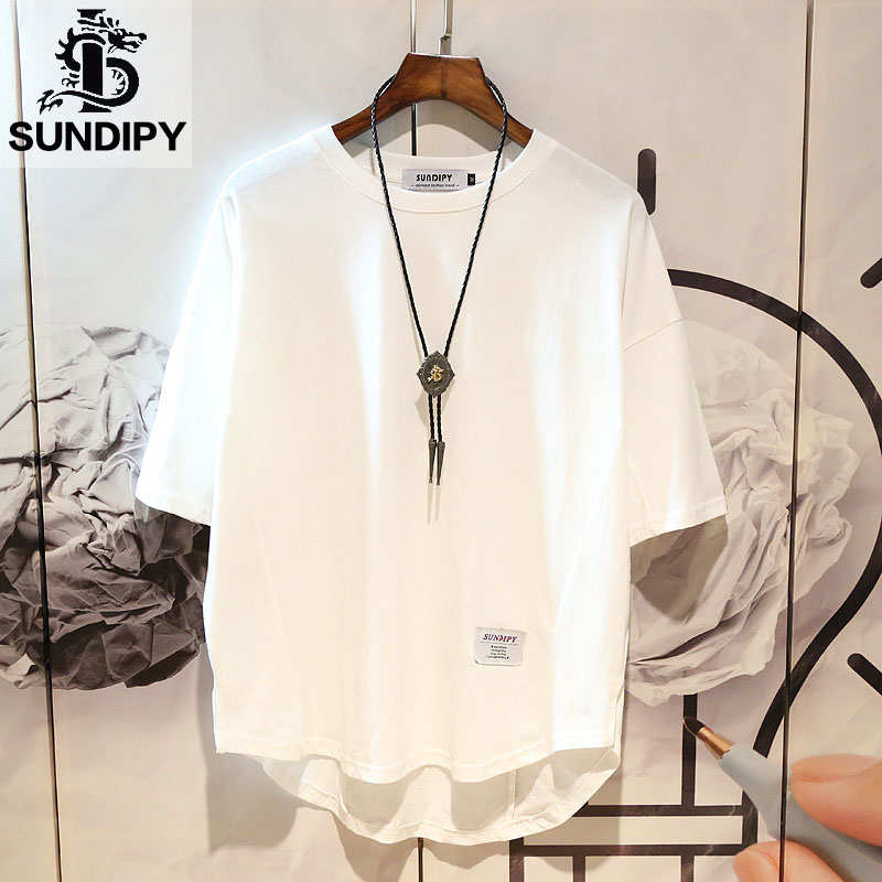 Japanese men's trend yat-gyre half-sleeve five-piece short-sleeved T-shirt ins loose Korean version of white dress body