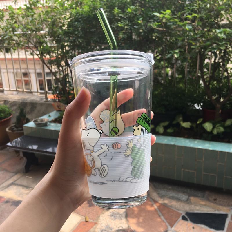 玻璃刻度学生吸管杯奶茶杯水杯
